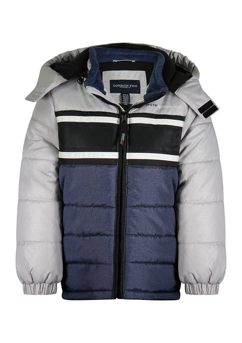 Boys 4-7 Puffer Jacket with Chest Stripe