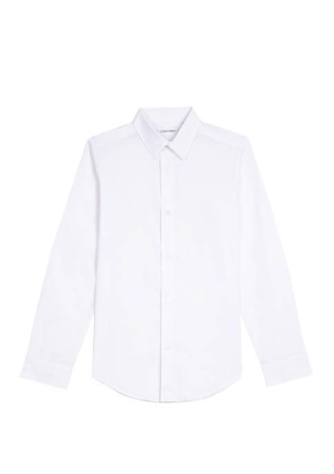 Calvin Klein Boys 4-7 Long Sleeve Stretch Poplin