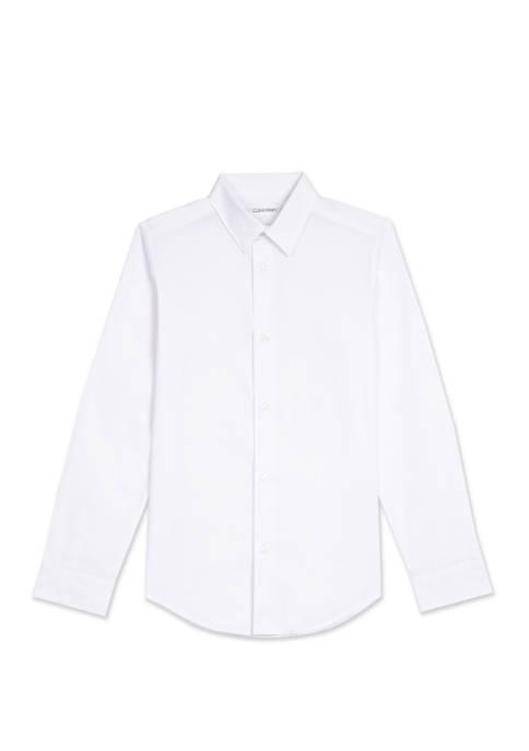 Calvin Klein Boys 8-20 Solid Stretch Poplin Shirt