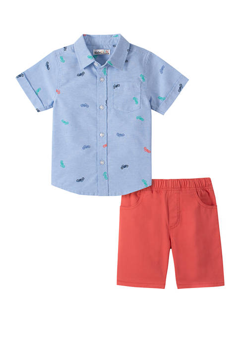 Boys 4-7 Short Sleeve Woven Shirt and Shorts Set