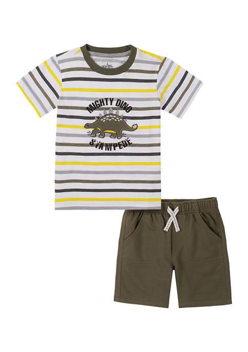 Kids Headquarters Boys 4-7 Dino T-Shirt and Shorts