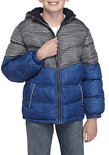 Boys 8-20 Colorblock Heather Puffer Jacket