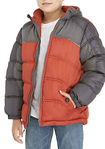Colorblock Heather Sleeve Puffer Coat