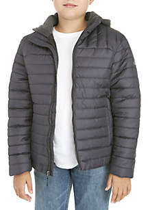 Boys 8-20 Heather Quilted Puffer Jacket with Hood