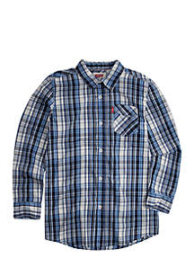 One Pocket Plaid Button Front Woven Shirt Boys 8-20