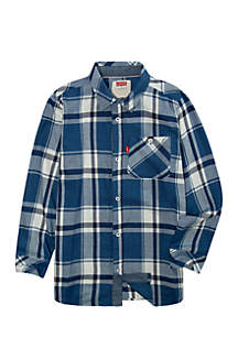 Boys 8-20 Plaid One Pocket Long Button Up
