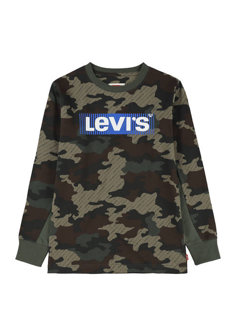 Boys 8-20 Long Sleeve Camouflage Logo Graphic T-Shirt