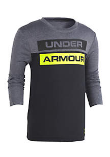 Under Armour® Boys 4-7 Blocked Wordmark Long Sleeve Tee