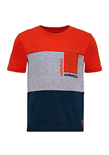 Under Armour® Boys 4-7 UA Pieced Short Sleeve Pocket T Shirt