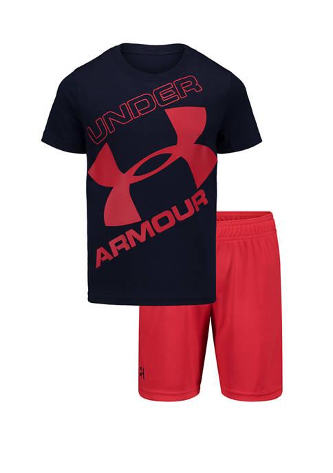 Under Armour® Boys 4-7 Tilted Big Logo Shorts