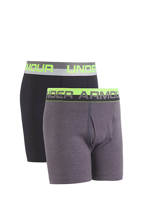 Under Armour® 2-Pack Solid Cotton Boxers Boys 8-20