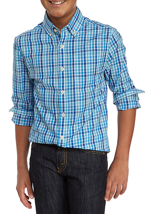 Crown & Ivy™ Plaid Button Front Shirt Boys