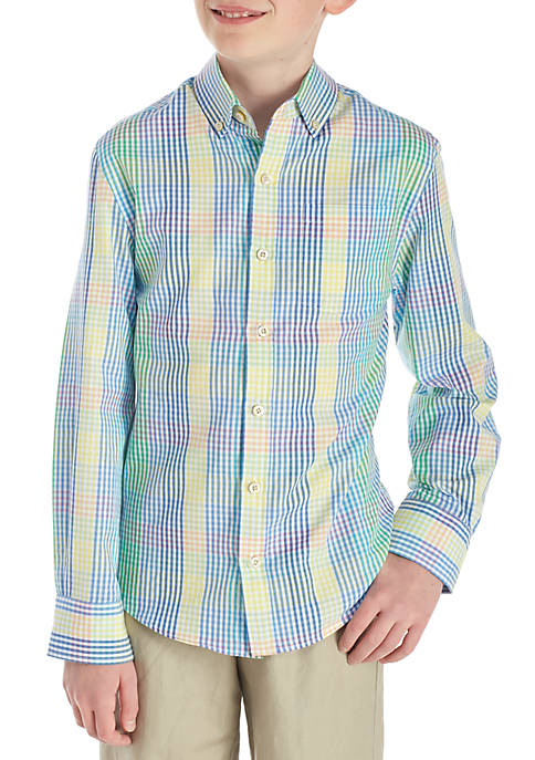 Crown & Ivy™ Plaid Woven Button Front Shirt