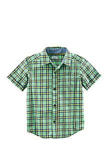 Plaid Poplin Button Front Shirt Boys 4-7
