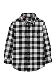 Boys 4-7 Checkered Twill Button-Front Shirt