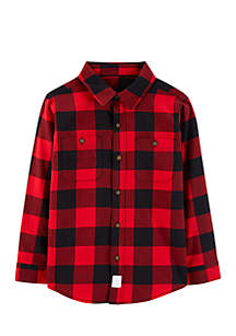 Boys 4-7 Red Buffalo Check Twill Button-Front Shirt