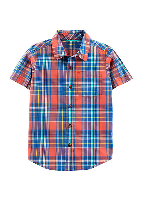 Carter's® Boys 4-7 Short Sleeve Plaid Woven Shirt