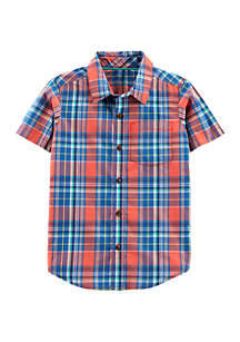 Carter's® Boys 4-7 Short Sleeve Plaid Woven Shirt