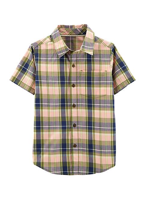 Boys 4-7 Plaid Poplin Button Front Shirt