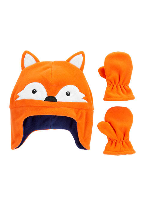 Carter's® Boys 2-Piece Fox Hat and Mittens Set