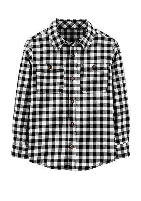Carter's® Toddler Boys Checked Long Sleeve Woven Shirt