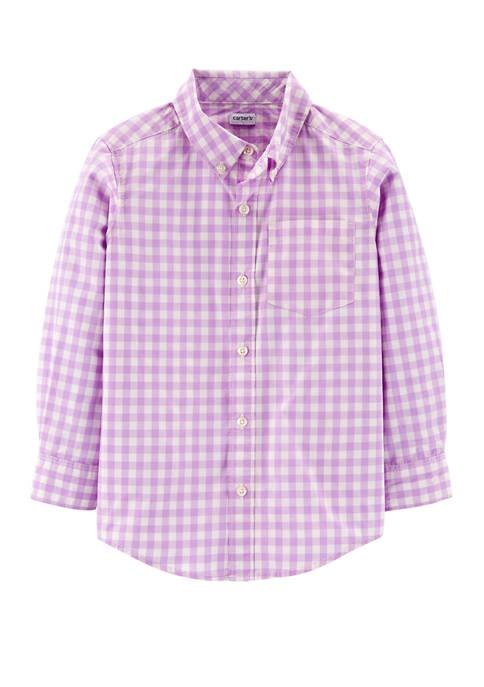 Carter's® Boys 4-7 Gingham Button Front Poplin Shirt