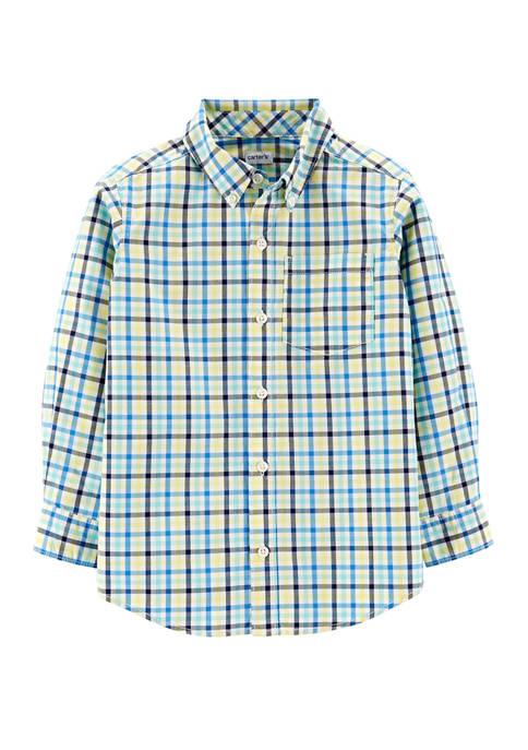 Carter's® Toddler Boys Plaid Button Front Poplin Shirt