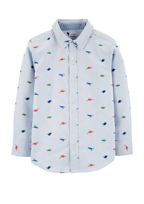 Carter's® Boys 4-7 Striped Dinosaur Oxford Button Front