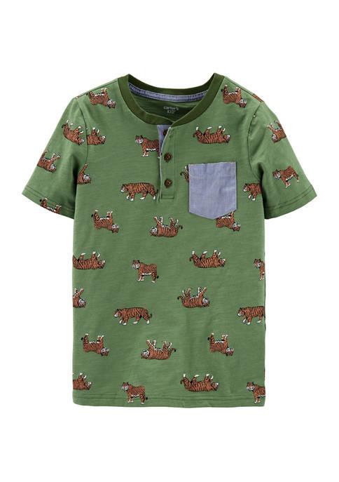 Toddler Boys Tiger Slub Jersey Henley Shirt