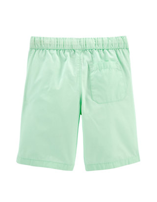 Carters Boy Pull-On White Flat Front Poplin Shorts With Side Pockets; 4