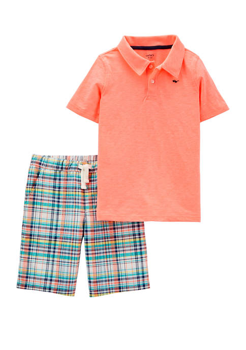 Carter's® Boys 4-7 2 Piece Neon Slub Polo