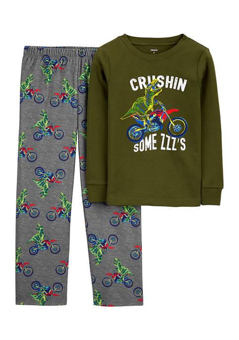 Boys 4-10 2 Piece Fleece Dino Motorcycle Pajama Set