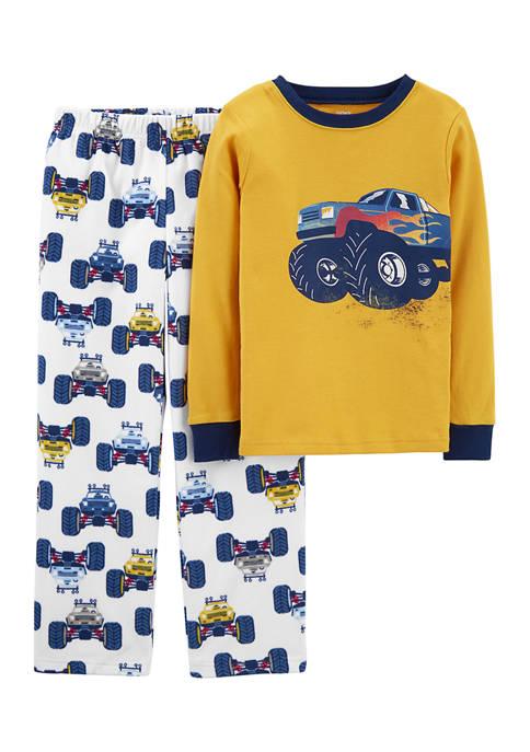 Boys 4-10 Fleece Monster Truck Pajama Set