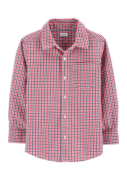 Carter's® Boys 4-7 Red Blue Gingham Button Down