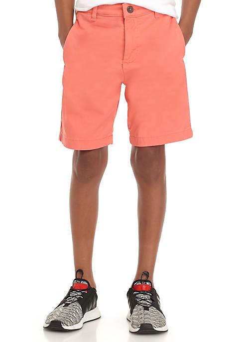 Flex Waist Twill Flat Front Shorts Boys 4-8 Husky
