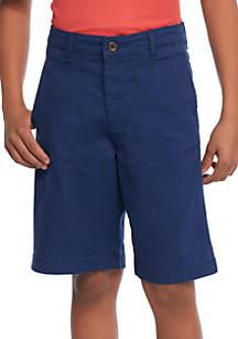 Crown & Ivy™ Boys 8-20 Husky Flex Waist Preppy Flat Front Twill Shorts