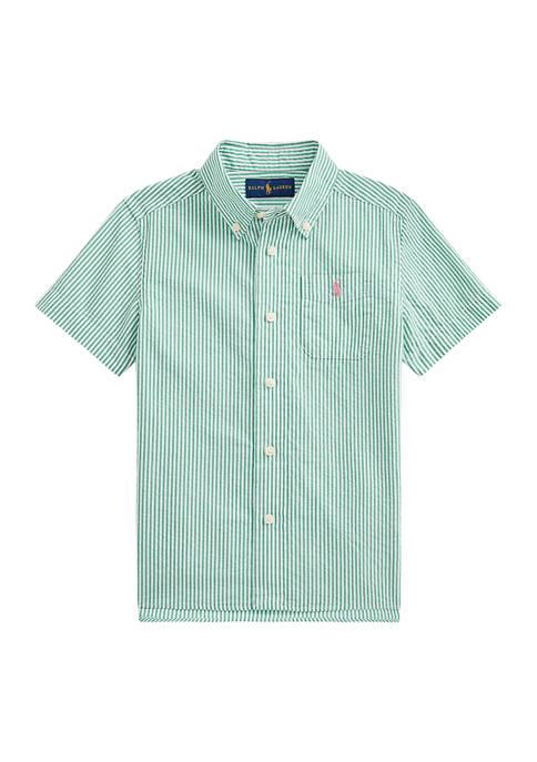 Boys 4-7 Striped Cotton Seersucker Shirt