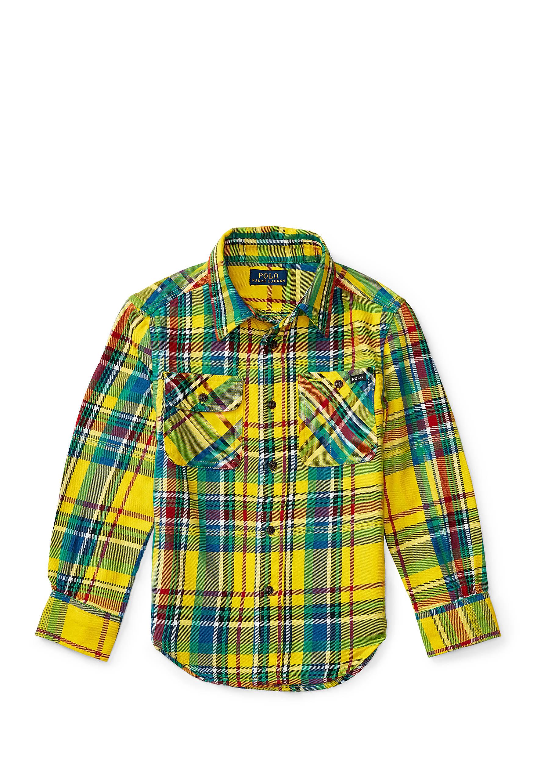 Ralph Lauren Childrenswear Madras Cotton Twill Work shirt Boys 4-7.  45007611054800. Images
