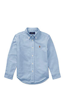 Cotton Oxford Sport Button Front Shirt Boys 4-7