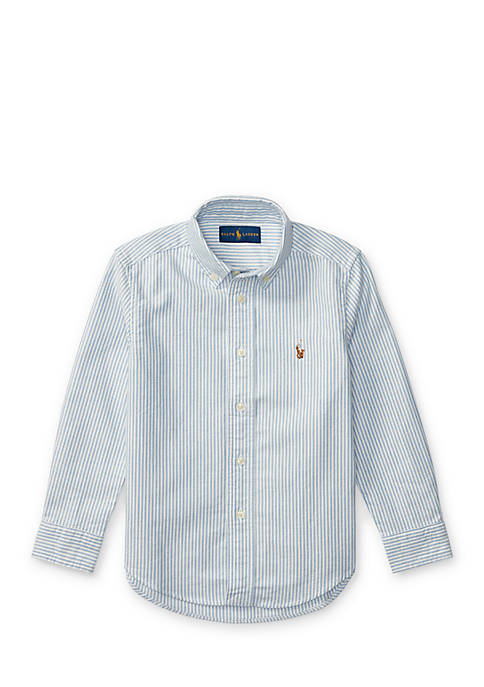 Striped Cotton Oxford Button Front Shirt Boys 4-7