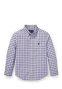 Boys 4-7 Plaid Stretch Poplin Shirt