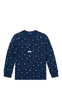 Boys 4-7 Star-Print Cotton Mesh Henley Shirt