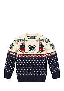 Boys 4-7 Ski Bear Cotton-Merino Sweater