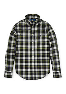 Boys 4-7 Plaid Cotton Poplin Shirt