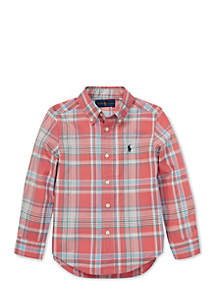 Boys 4-7 Plaid Cotton Poplin Shirt