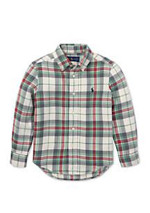 Boys 4-7 Plaid Cotton Twill Shirt