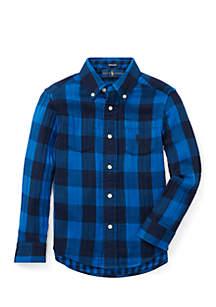 Boys 4-7 Reversible Plaid Cotton Shirt