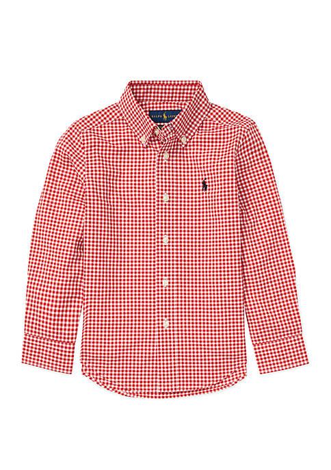 Boys 4-7 Gingham Cotton Poplin Shirt