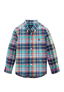 Ralph Lauren Childrenswear Boys 4-7 Plaid Cotton Poplin Shirt