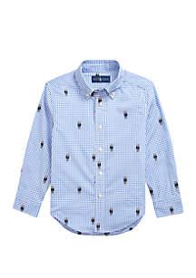 Ralph Lauren Childrenswear Boys 4-7 Polo Bear Gingham Cotton Shirt
